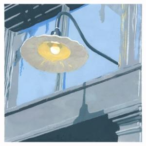 Lights On - pochoir (gouache stencil print) - 6×6 inches - $450