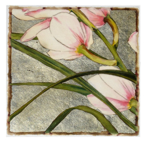 Orchid Series #14 - mixed media monoprint - 7×7 inches