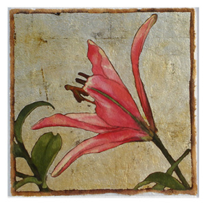 Silver Lily Series #84 - mixed media monotype - 7×7 inches