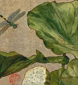 Water Lily #3, mixed media monoprint